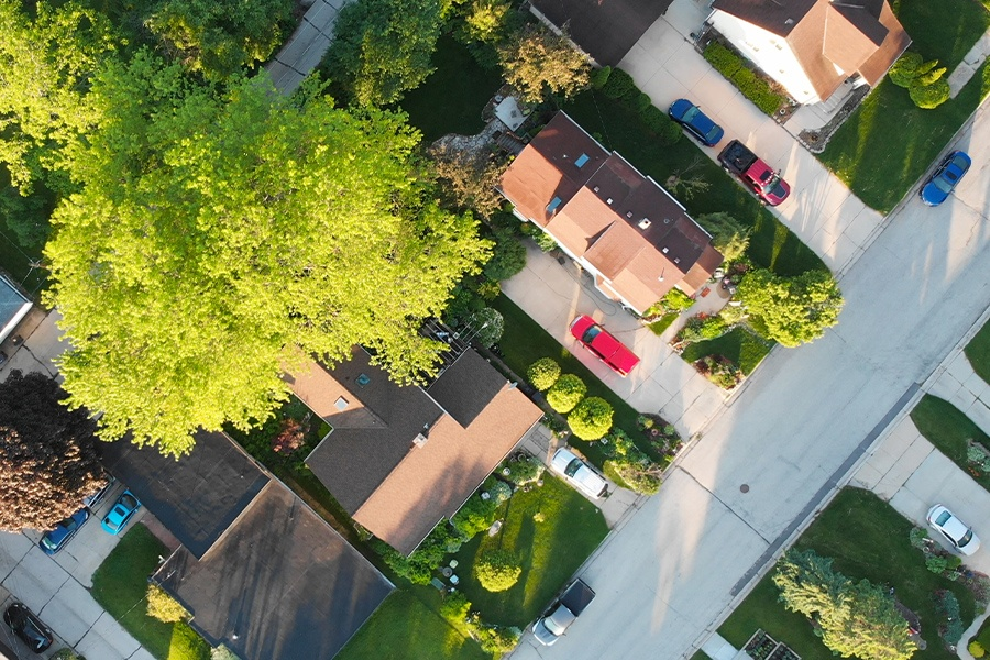 Schaumburg, IL - Aerial view of Residential Houses at Summer Near Chicago, Illinois